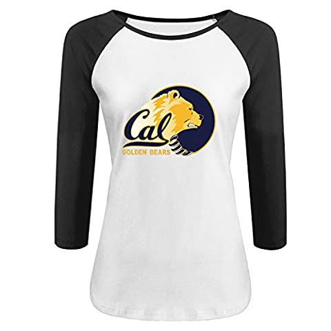 Women's Cal Berkeley UCB Golden bear Logo custom Raglan T shirt M Black - Custom Raglan T-shirts