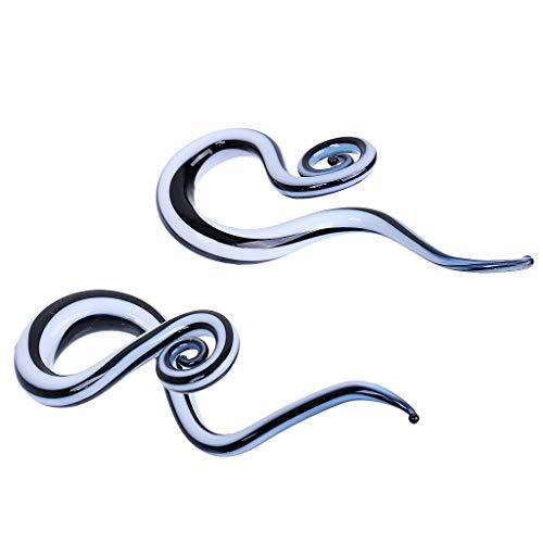 Snail Spiral Glass Hook Taper Ear Plug Earring Expander Stretcher 5-12mm | Size - 12mm