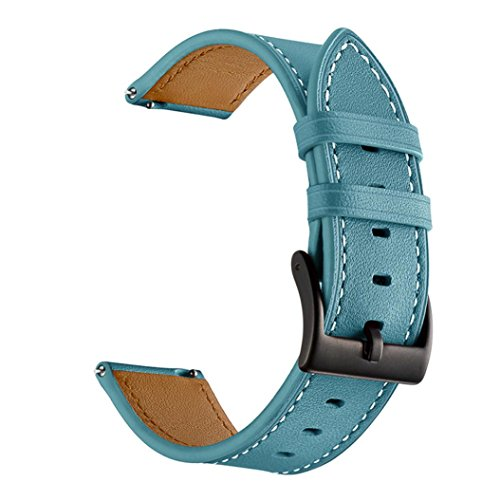 Price comparison product image Outsta for Xiaomi Huami Amazfit Bip Youth Watch Band, Leather WatchBand Wrist Straps Bracelet Accessory Wristbands Fashion Smart Watch Band Women Men (Sky Blue)