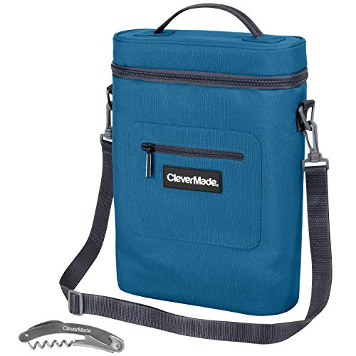 CleverMade Wine Bottle and 6 Pack Cooler Bag; Insulated Leakproof Tote with Removable Ice Pack and Corkscrew Bottle Opener, Teal