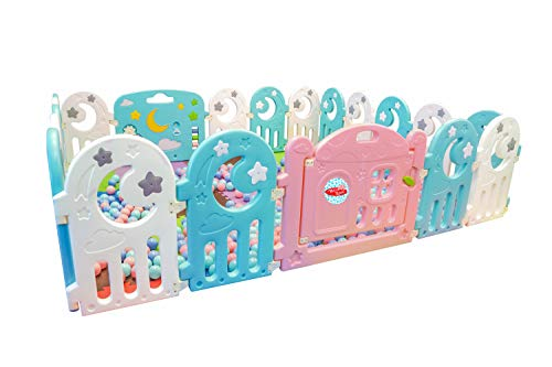 Baby Playpen, Kids Activity Center Safety Play Yard 18 Moon Panels 2 Gates Portable Large Indoor Outdoor Plastic Play Pen with Panels – Safety Playgate with Fence for Kids