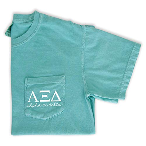 (Alpha Xi Delta Script Letters Pocket T-Shirt (Small) Mint)