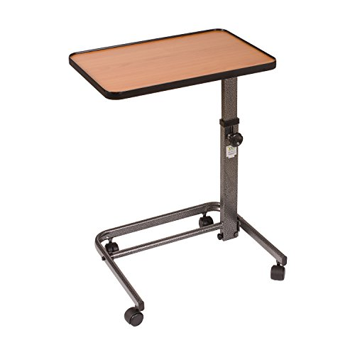 DMI Overbed Table, Steel Frame Adjustable Overbed Table, Tilt Top Overbed Table, Height Adjusts From 25.5 to 38.5 Inches, No Assembly (Chip Stick Pin)