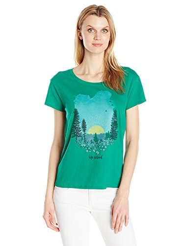 Life is good Women's LIG Meadow Sunset Breezy Tee, Jungle Green, (Meadow Green Apparel)