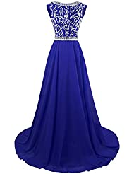 MsJune Long Prom Dresses Cap Sleeves Bridesmaid Wedding Guest Gowns Beaded 2017 Royalblue 14