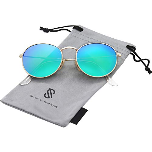 SOJOS Small Round Polarized Sunglasses Mirrored Lens Unisex Glasses SJ1014 3447 with Gold Frame/Green Mirrored Polarized Lens