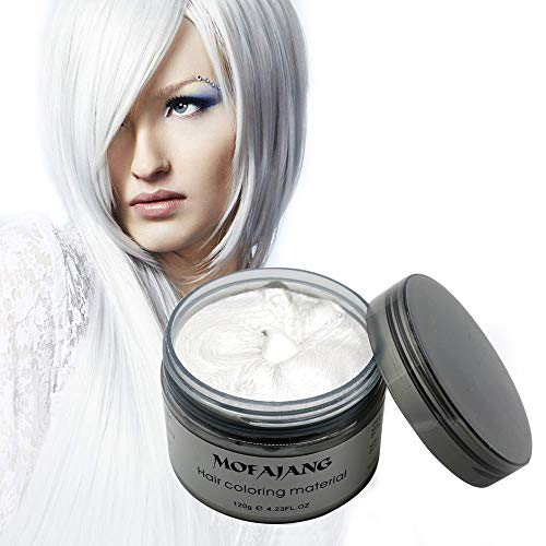 MOFAJANG Natural Hair Wax Color Styling Cream Mud, Natural Hairstyle Dye Pomade, Temporary Hairstyle Cream 4.23 oz, Hairstyle Wax for Men and Women (White)]()
