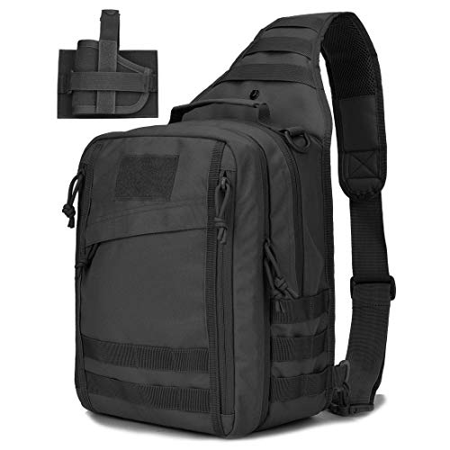 Tactical Sling Bag Pack w/Gun Holster Small Military Rover Shoulder Sling Backpack Molle Assault Range Bag Everyday Carry Diaper Bag Day Pack ()