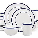 Gorham Bistro, Fine Porcelain China, 4 Setting Dinner Set - 16 Pieces, Blue