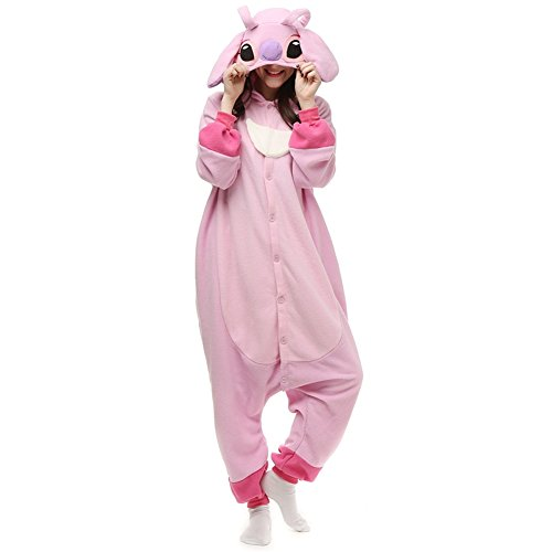 Adults Onesie Halloween Costumes Animals Sleeping Pajamas (M, Pink Stitch) -