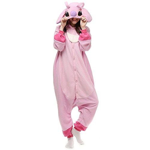 Kigurumi Adults Stitch Onesie Halloween Costumes Animals Sleeping Pajamas (L, Pink Stitch)