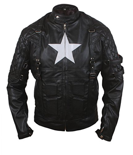 Captain Steve Rogers Costume (F&H Boy's Captain America Age Of Ultron Genuine Leather Jacket L Black)