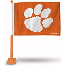 "NCAA Clemson Tigers Car Flag, Orange Pole, 19"", Orange"