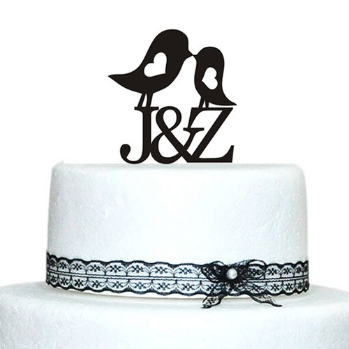 Personalized Love Birds Cake Topper with Heart Design Initial Monogram Wedding Cake Topper, Monogram Cake Topper, Cake Topper Letter