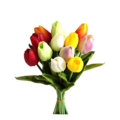 Mandy's 12pcs Multicolor Artificial Tulip Flowers 14