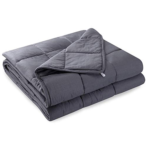 Anjee Weighted Blanket Great for Sleeping, 6.8 kg Heavy Blanket for 55-100 kg Persons,Sensory Blanket with Glass Beads for Better Sleep and Relaxing (122x 183 cm,Grey)