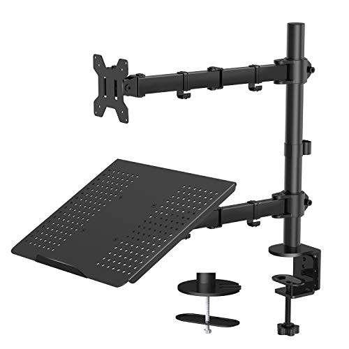 Monitor Stand with Keyboard Tray - Adjustable Desk Mount Laptop Holder with Clamp and Grommet Mounting Base for 13 to 27 Inch LCD Computer Screens Up to 22lbs, Notebook up to 17