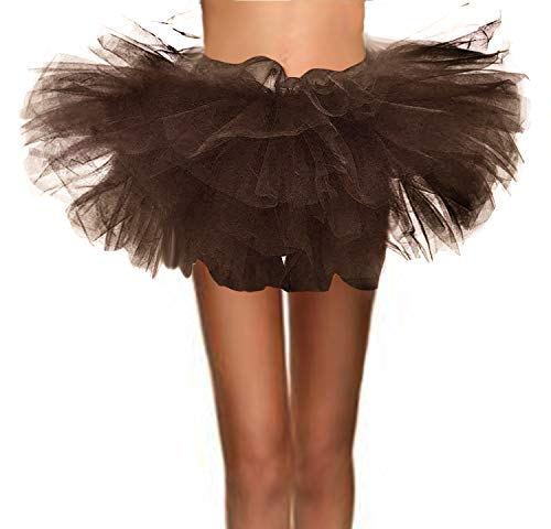 T-Crossworld Women's Classic 5 Layered Puffy Mini Tulle Tutu Bubble Ballet Skirt Brown -