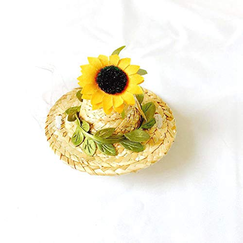 Mini Straw Sombrero Hats Party Hats 2 Pieces,Sunflower and red Rose Dog Sombrero Hat for Small Pets/Puppy/Cat,L by HDMY