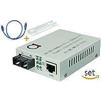 Multimode Gigabit Fiber Media Converter - Built-In Fiber Module 2 km (1.24 miles) SC – to UTP Cat5e Cat6 10/100/1000 RJ-45 – Auto Sensing Gigabit or Fast Ethernet Speed - Jumbo Frame - LLF Support