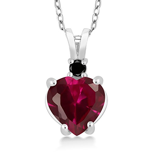 14K White Gold Heart Pendant set with 2.25 Ct Red Created Ruby & Black - 14k Diamond Aaa Pendant Ruby