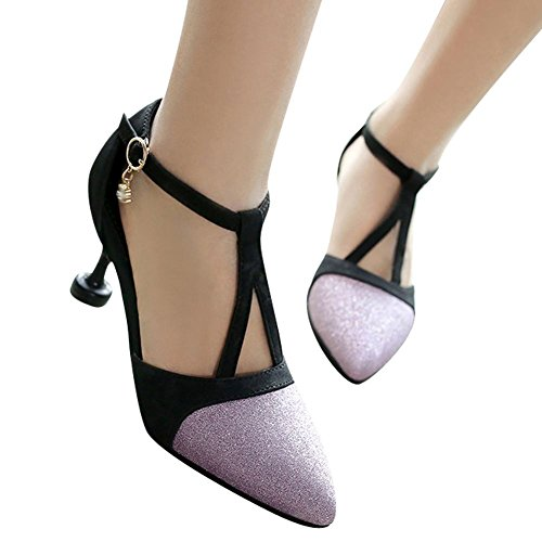 Carolbar Womens Pointed Toe Sexy Sequins Buckle Stilettos Sandals Purple wNEVgi8iE