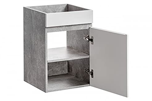 Waschbeckenunterschrank U0027Gregory Wu0027 Waschtisch Waschbecken Badmöbel Weiß  Beton, Unterschrank:Gregory 40 Ohne