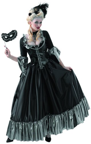 Disguise Masquerade Ball Queen, Black/Silver, Large (12-14) Costume