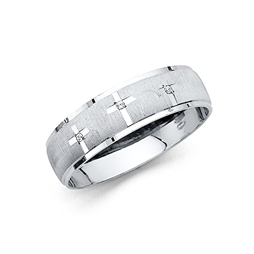 Ioka Jewelry - 14K White Solid Gold 6mm Men's Tri Cross Cubic Zirconia CZ Thin Wedding Band - size 11 by Ioka Jewelry