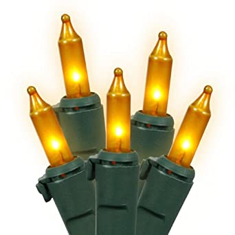 Set of 100 Opaque Gold Mini Christmas Lights - Green Wire - String Lights - Amazon.com