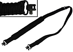 Ultimate Arms Gear 550 lb Paracord Survial Shoulder Harness Strap Sling, Black Over 56\' ft Parachute Cord with Swivels for Beretta CX4 Rifle