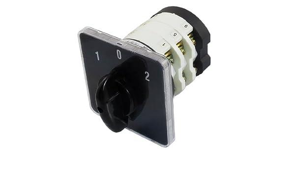sourcingmap Interruptor de Leva del Selector de 690V 50A 3 Posiciones 12 Terminales de Tornillo Rotativo de mando