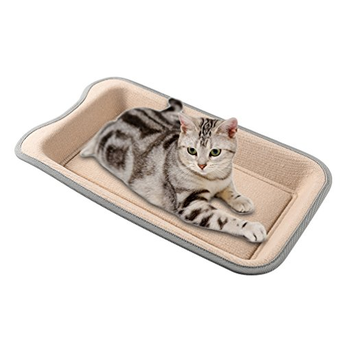 Petacc Cat Scratcher Funny Cat Bed Wear-proof Pet Scratching Toy with Catnip, Beige by Petacc (Image #5)