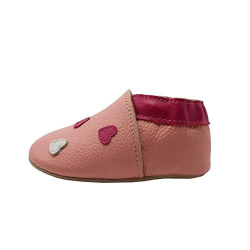 Sayoyo Suaves Zapatos De Cuero Del Bebé Zapatillas corazón rosa