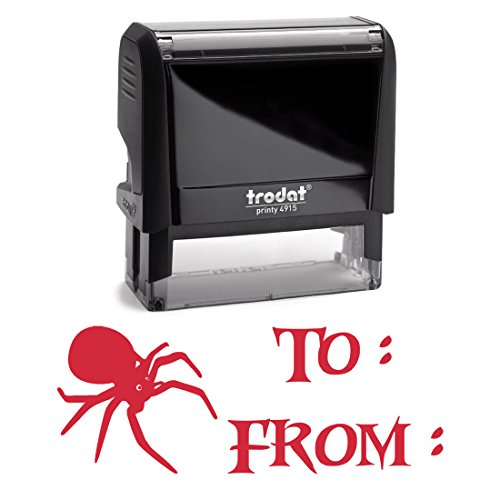 Red Self Inking Stamp To From Gift Tag Stamper, Big Spider. Great for Gift Tag Labels, Make Your Own Tags Present Naming. 2 Lines = 3/4 X 1 7/8 Inches]()