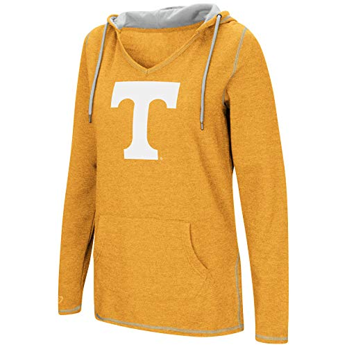 - Colosseum Women's NCAA-Scream It!- Dual Blend-Fleece V-Neck Hoodie Pullover Sweatshirt-Tennessee Volunteers-Orange-Medium