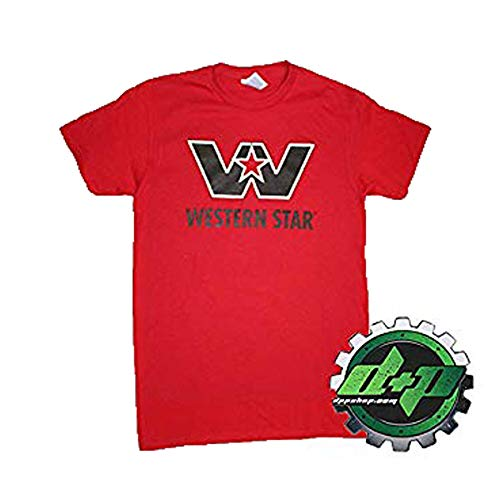 Western Star Logo Red T Shirt semi Truck Diesel tee Short Sleeve Gear Medium