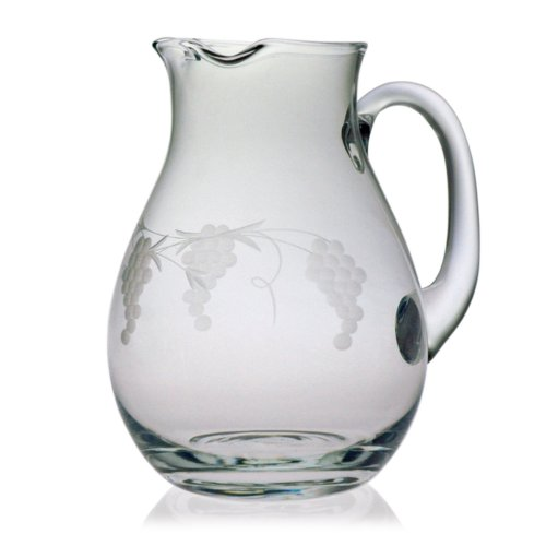 Susquehanna Glass Sonoma Grape Pattern Cut Glass Classic Round Pitcher, 64 (Glass Grape Pattern)