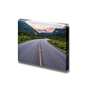 Handsome Design, Quality Artwork, Winding Road That Leads to Beautiful Sunset Lit Mountains Home Deoration Wall Decor