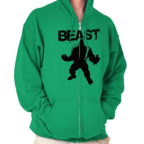 Giant Beast Workout Gym Fitness Muscle Zip Hoodie Irish Green