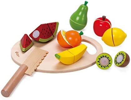 Classic World Wooden Toys for Baby Toddler, Pretend Play Food Set for Kids Play Kitchen,Cuttable Toy Fruit with Wooden Knif and Tray,Gift Idea for Boy Girl Birthday