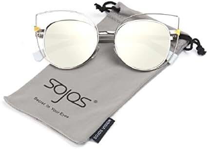 SojoS Vision Womens Stylish Flash Mirror Lenses Metal Frame Round Cat Eye Sunglasses SJ1031