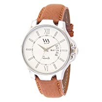 Watch Me White Dial Brown Leather Strap Day Date Watc