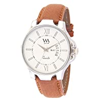 Watch Me White Dial Brown Leather Men's Analog Watch-...