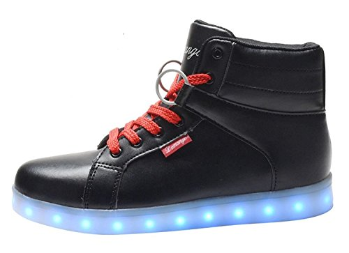 DEMANGO LED Light Up Shoes For Mens Womens Black2 6drf6