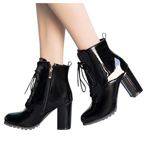 QBQCBB Women High Heel Lace Up Boots