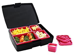 Laptop Lunches Bento-ware Bento Lunch Box with BPA-Free, Leak-proof Containers, Black/Pink (L600-blkpnk)