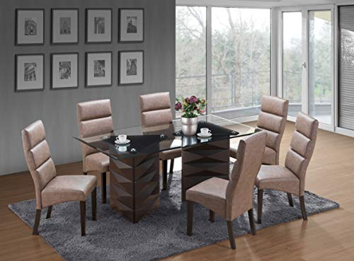 Kings Brand Furniture - 7 Piece Emerson Glass/Wood Dinette Dining Room Set, Table & 6 Chairs, Chocolate - Emerson Dining Room Chair