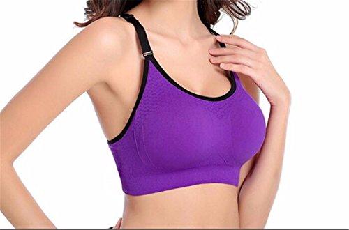 Yall La Sra deportes sin costura chaleco sujetador de la yoga cómoda Purple