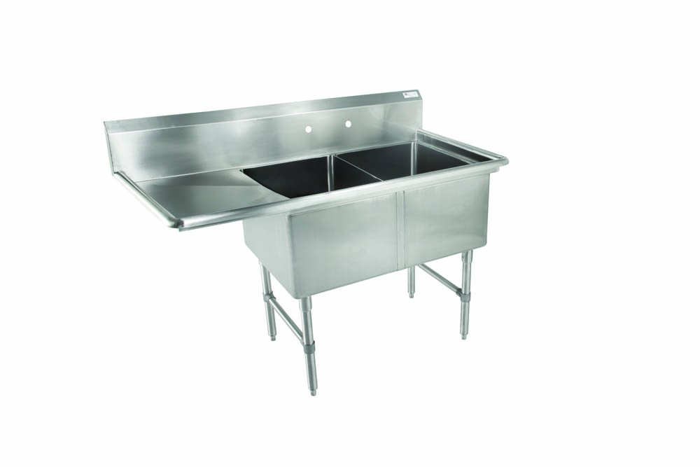 John Boos 2B16204-1D18L B Series 2 Compartment Stainless Steel Sink, 18'' Left Hand Drain Board, 16'' x 20'' x 14'' Bowl